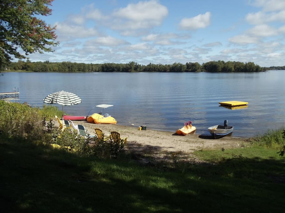 Includes use of 4 boats, sand beach, camp fire pit, dock, swim raft