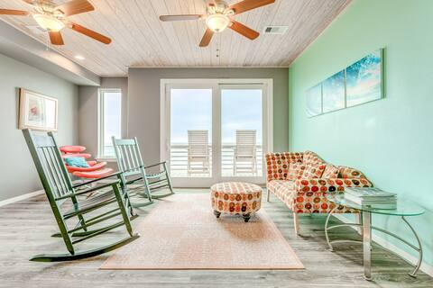 Oceanfront home w/three balconies, fireplace, & views - steps from the beach!