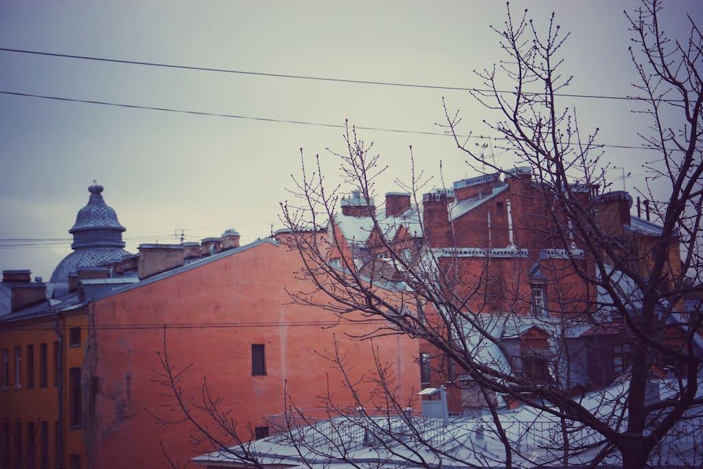 Вид из окон на Петербургские крыши. По праздникам можно наслаждаться салютом.