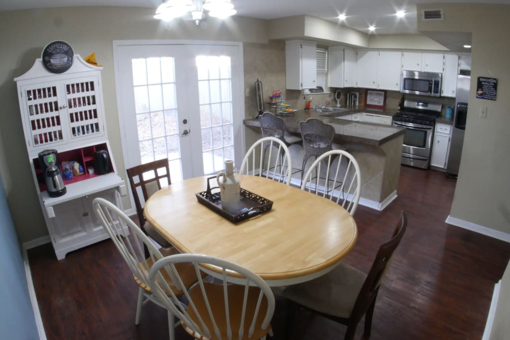 Shared kitchen and dining room.