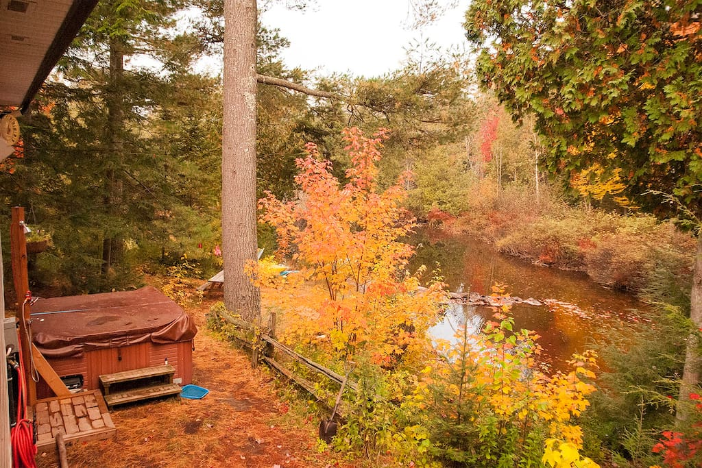 View of Spa, Outdoor Shower, River, our Grandfather White Pine and our dock behind it...