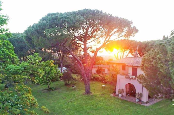Deliziosa mansarda nel verde, giardino e parking