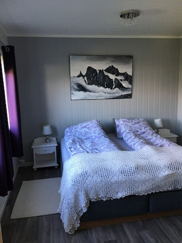 Bedroom with a new doublebed.