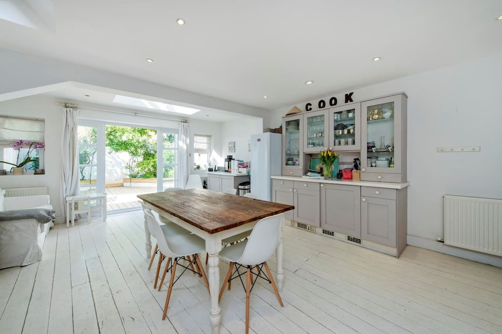 Skylight and french windows makes the kitchen very bright