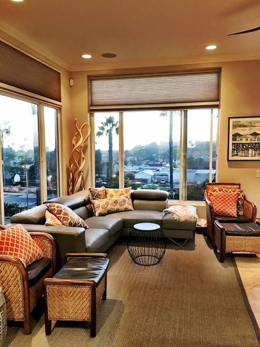 The  main floor living room has ocean views and is a great gathering place.