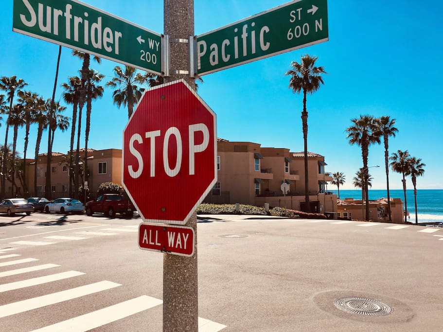 Cross streets on the path to the beach. This is 7 blocks from my house and is the best route to the sand (straight down Surfrider). One of my boarders took this cool picture!