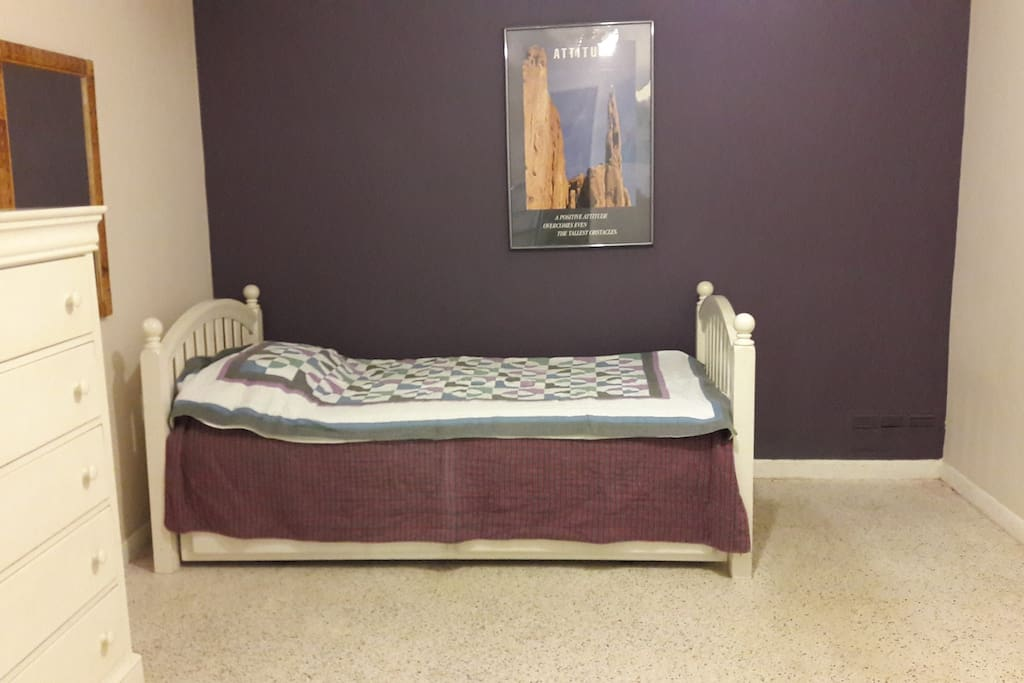 This is the bedroom. Please note that I have yet to update the photos, the room has slightly changed.