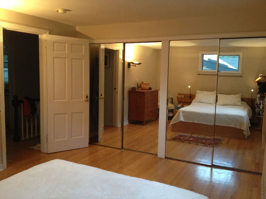 The bedroom has ample closets.