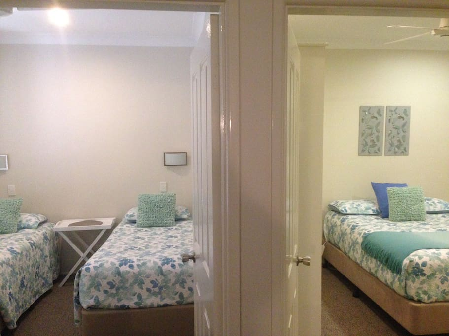 2nd bedroom has 2 single beds