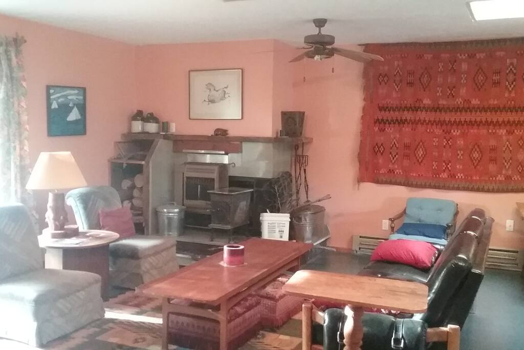 Upstairs living room with wood stove
