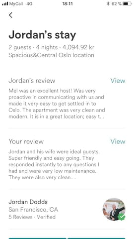 Previous review from Oslo apartment