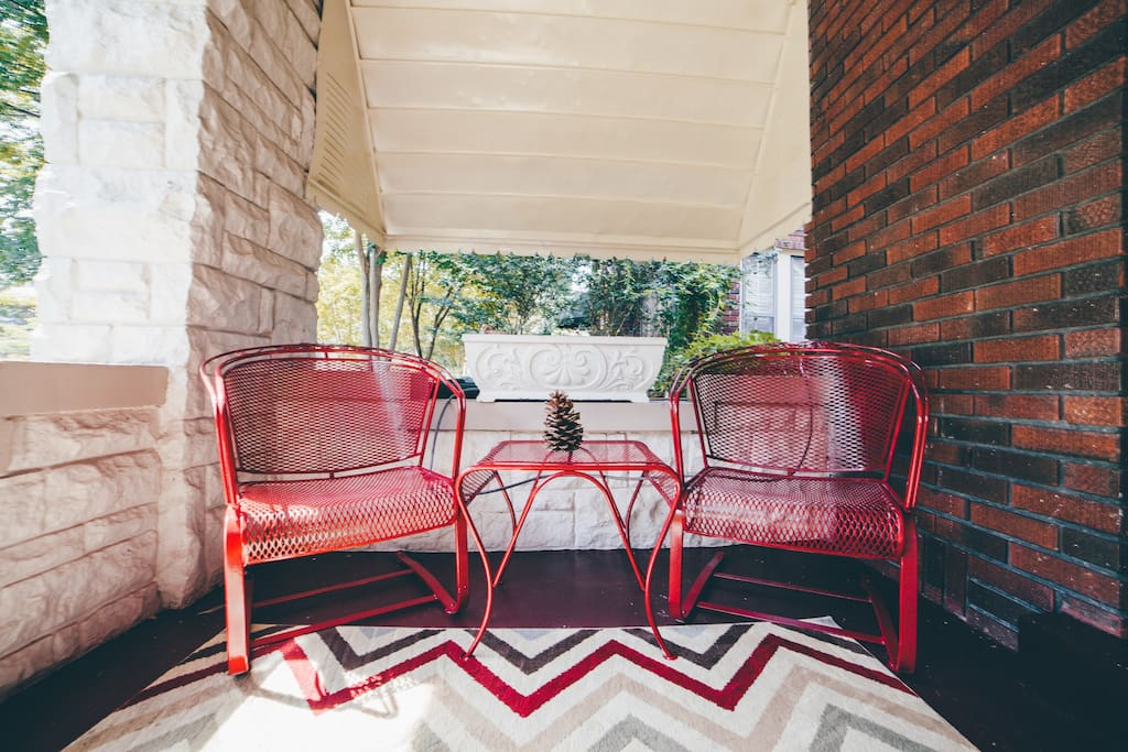 The rocking chair is a mainstay for the Evergreen District front porch.  These vintage rockers are perfect for a morning cup of coffee or evening glass of wine.  Enjoy the neighbors taking walks with their strollers or pets as they pass by.