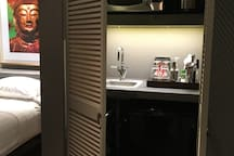 Wet Bar with double louver doors
