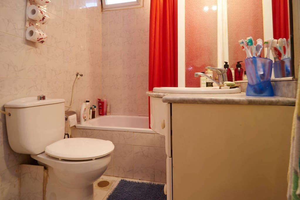 Shared shower and bathroom unit