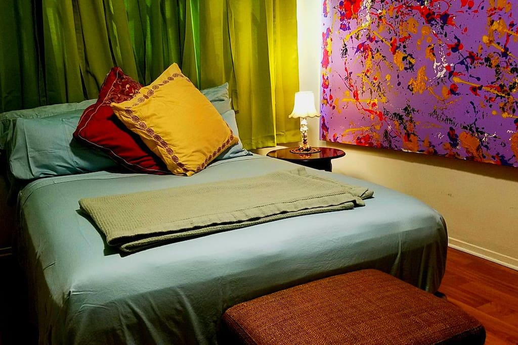 Private Room with Queen Bed,  Extra Pillows (8 in Total), Night Stand & Lamp