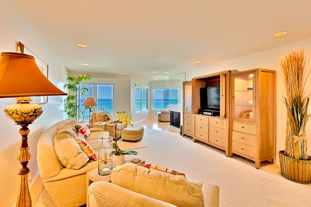 Enjoy the ocean views while relaxing in front of the flat screen TV