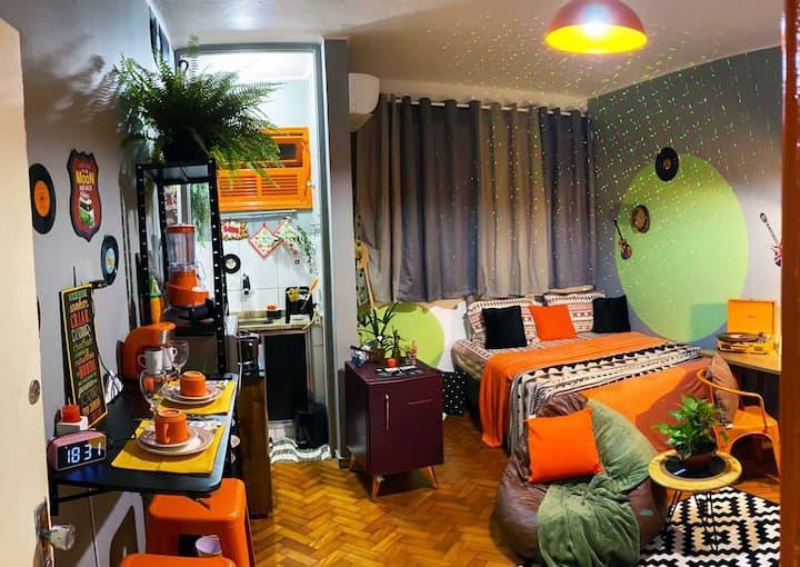 🌞🌿Loft Orange Vintage ! Noites com Sol🌞🌿