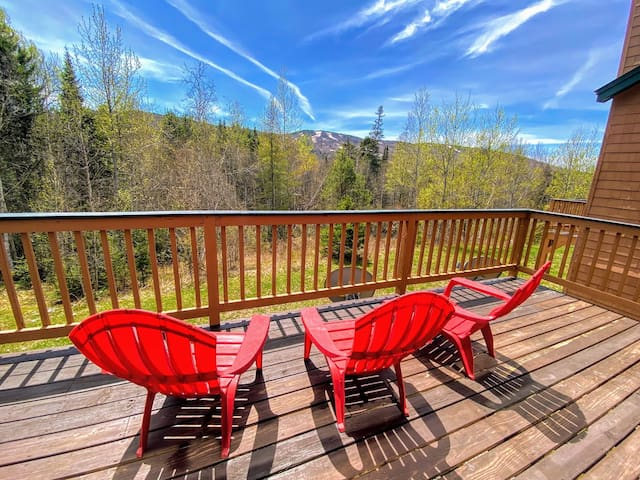 MWP62: Mount Washington Place Townhome with great slope views, fireplace, large deck, yard, and ping pong table! Free shuttle to skiing and Mount Washington Hotel. PROFESSIONALLY CLEANED!