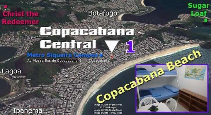 Copacabana Central 1 (pequeno quarto 200m praia)