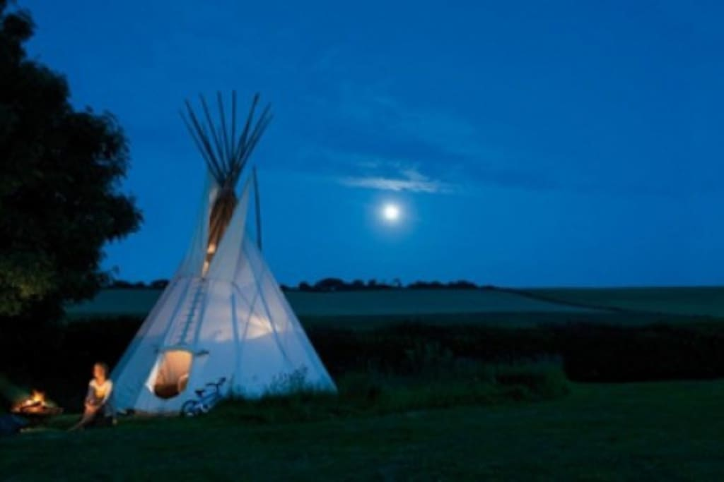Enjoy camping in the moonlight and watching the stars by a camp fire