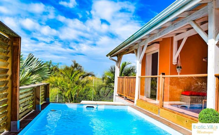 Villa créole, 4ch avec piscine à côté de la plage