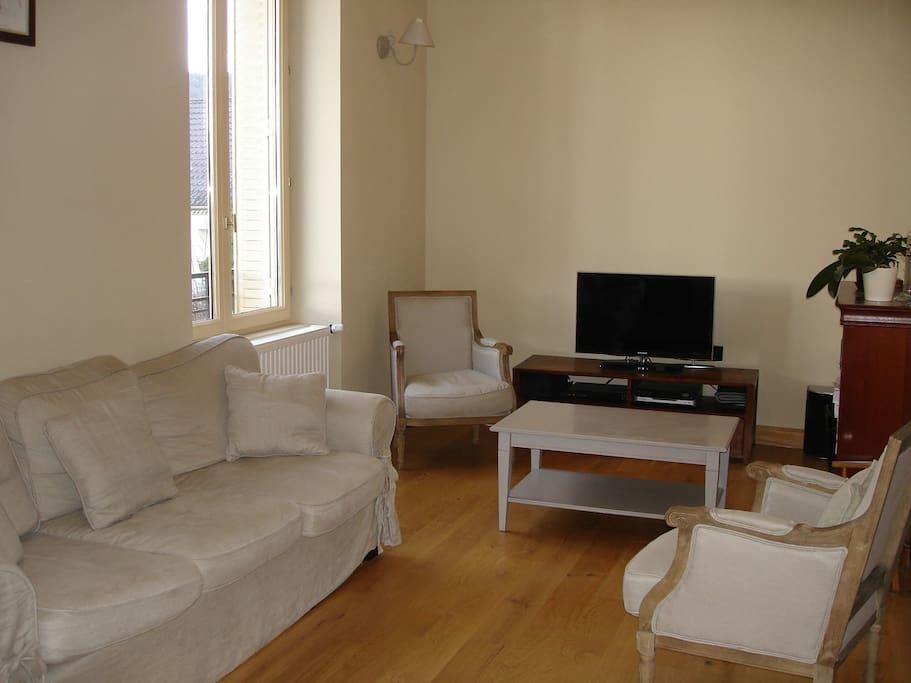 Salon confortable, spacieux et lumineux