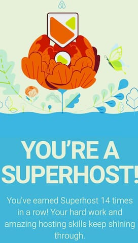 We have earned Super Host for 14 quarters in a row! That is 42 months. Thank you for letting us host you!