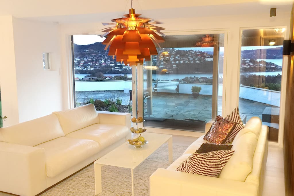Lounge with easy access to the garden and view of the fjord