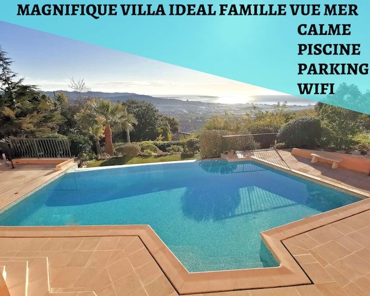 Magnifique Villa Famille Cannes-Mandelieu,Vue Mer,