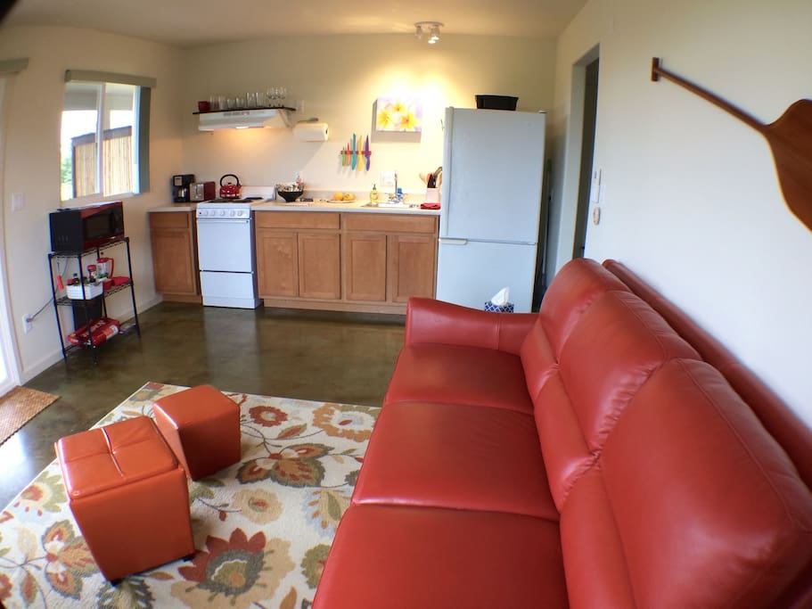 South unit living room and kitchen area (South unit).