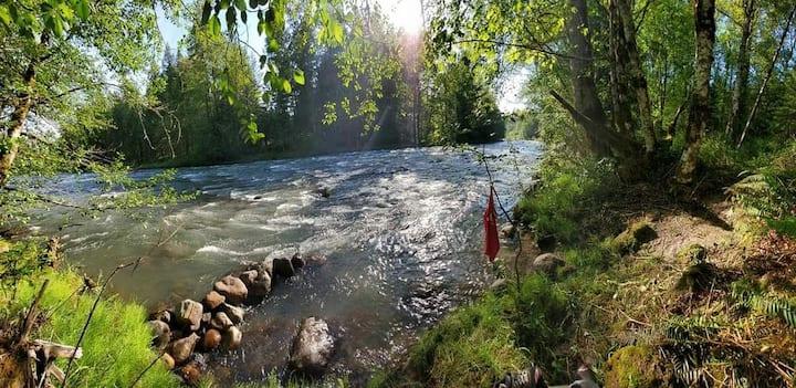 Camp Twilight:  Mt Hood Riverfront Campsite #1