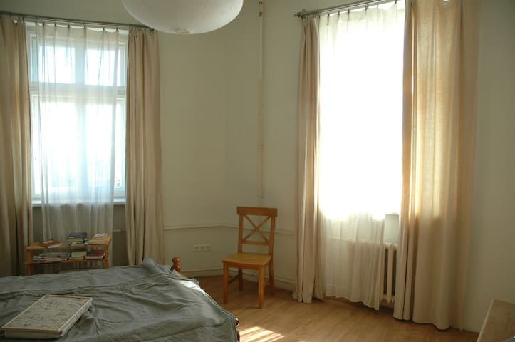 Bedroom. Two windows and morning sun!