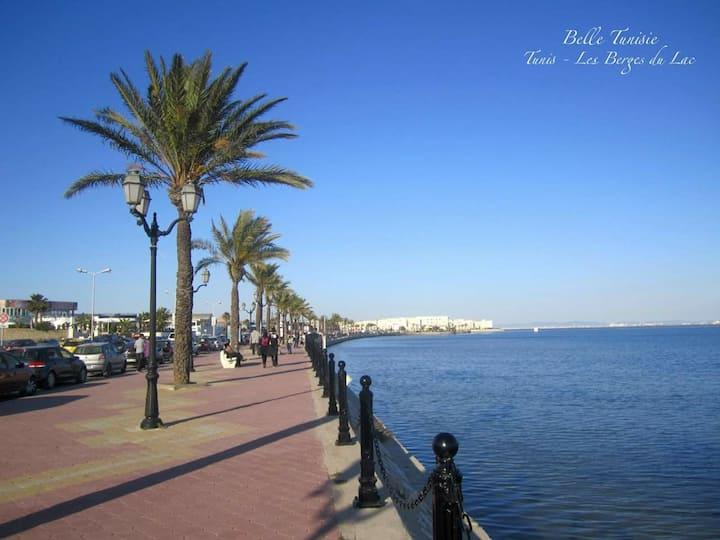 Tunis , les berges du Lac 1  Salon+2 ch + 1 sb+se