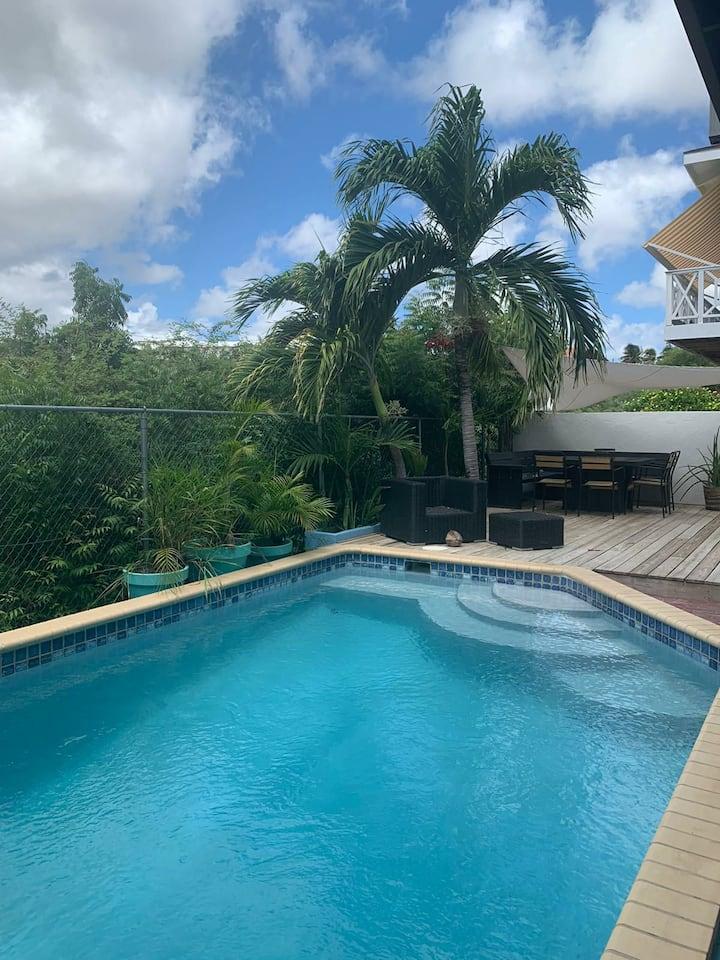 Vrijstaande villa met zwembad 6 pers Jan Thiel