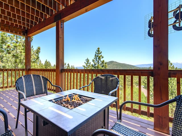 Gather around the fire pit on the covered deck.