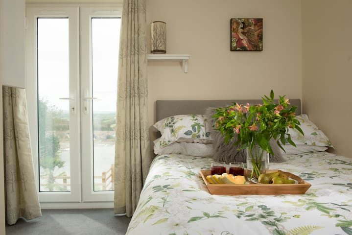 Juliette balcony double bedroom with ensuite and remote control smart TV
