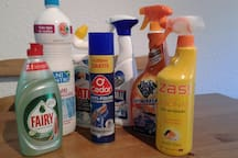 All necessary cleaning products and items to maintain your temporal home clean and fresh.
