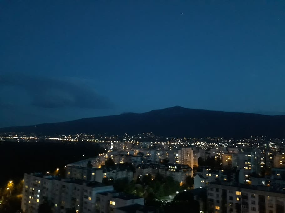 View from the balcony to the South Park and Vitosha Mountain (at night)