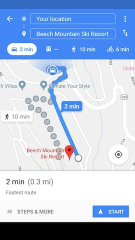 Map from cabin to ski resort. Right across street. 10 minutes to walk.