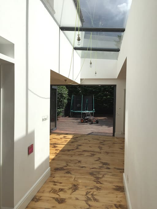 Hallway into the Open plan Kitchen and Skylights