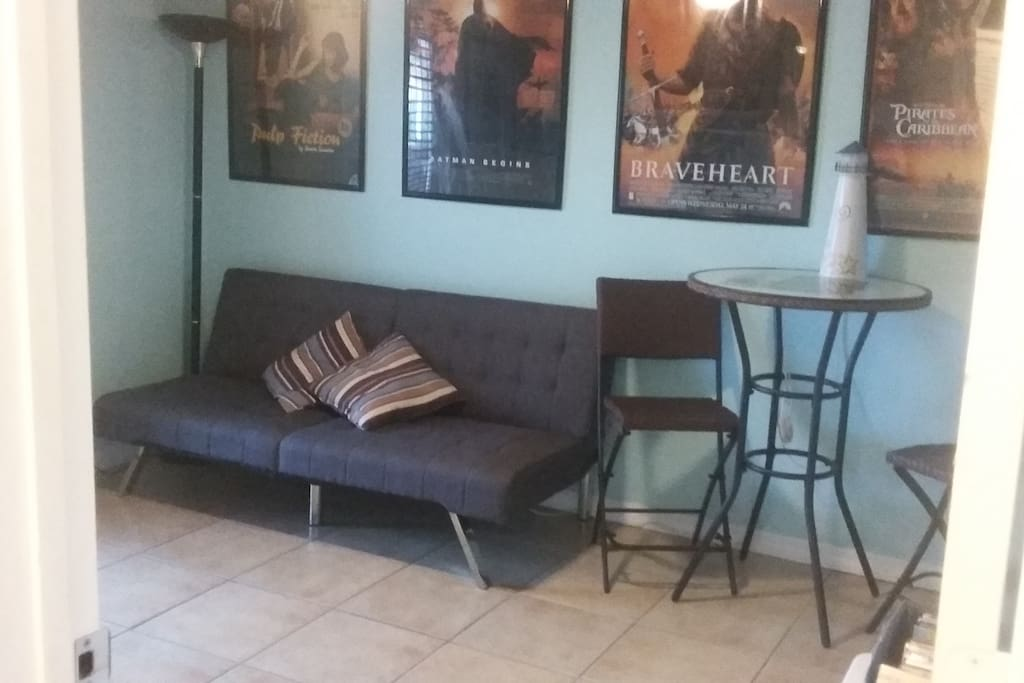 Futon sofa in movie room