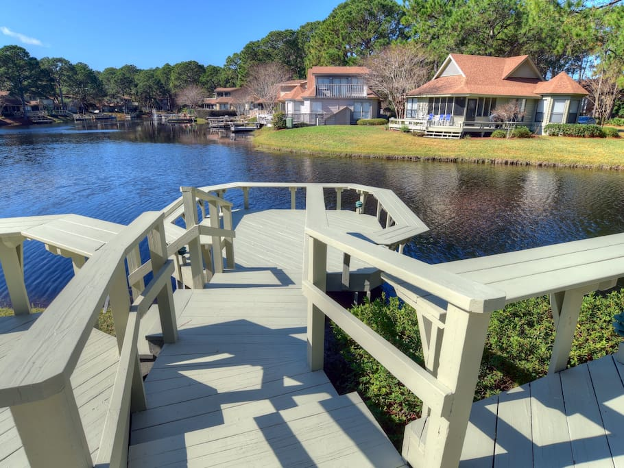 large dock where you can enjoy the views and catch and release fishing!