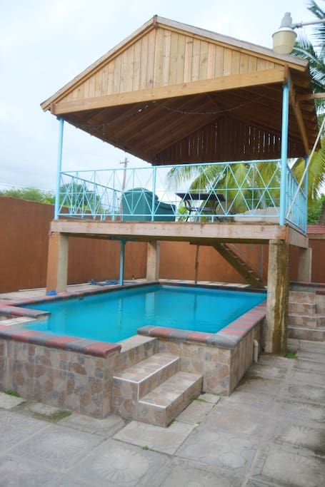Private 5 foot pool with gazebo for dining/lounge area with a view