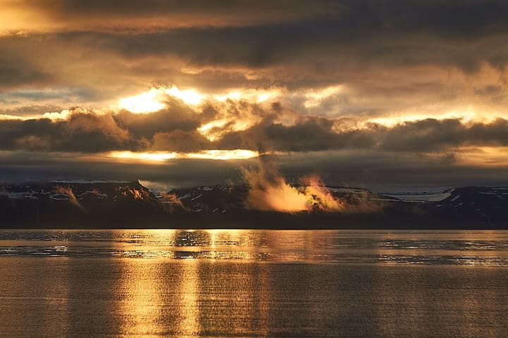 Sudavik Guesthouse Logement vue sur mer, montagnes
