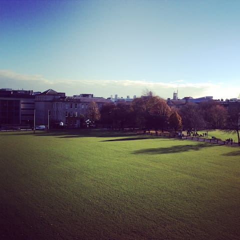 View of the Trinity College rugby pitch: a 3-min walk from the apartment