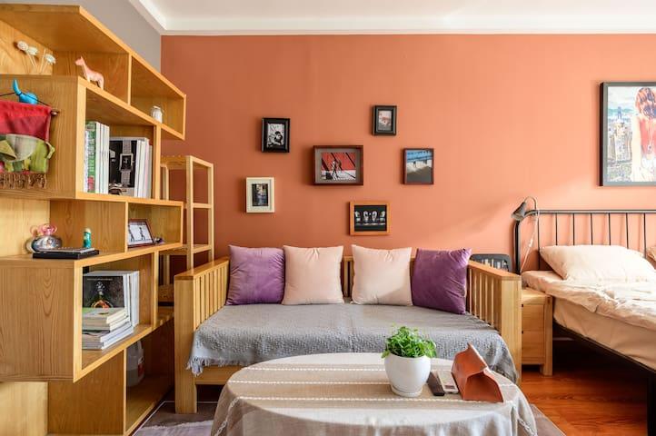 客厅的沙发,书架,静下来读一本书吧