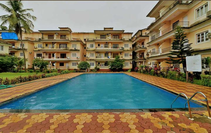 2 BHK apartment with Swimming pool and Kitchen