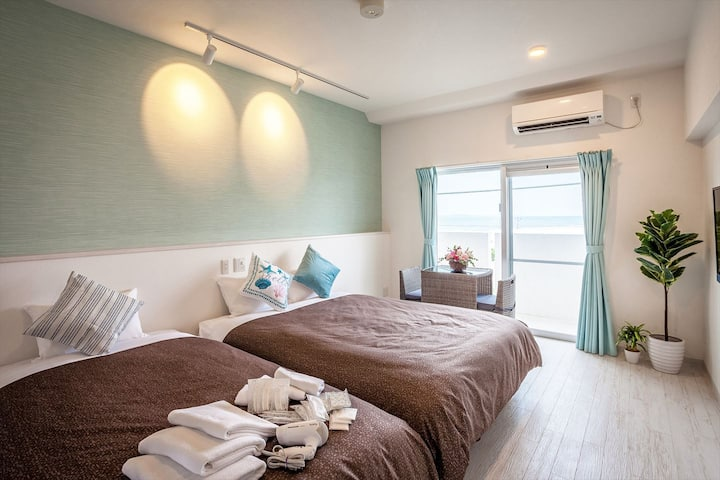 【ラージツイン】よなばるの海岸近くに新規オープン!wifi・駐車場・洗濯機・乾燥機を全室完備!