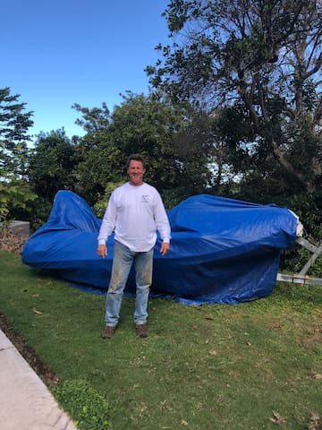 Lawn camping with tent