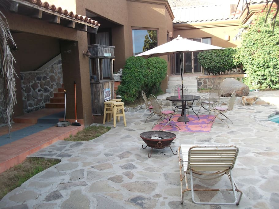 private, walled in pool patio
